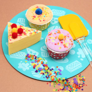 colorful pretend cakes and cupcakes
