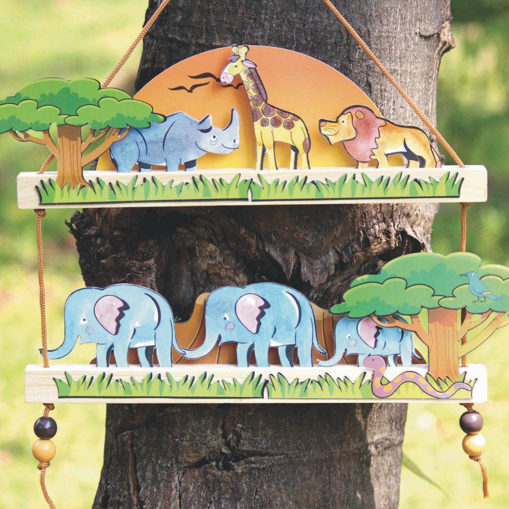 hanging diorama of elephants, rhinos, giraffes and elephants