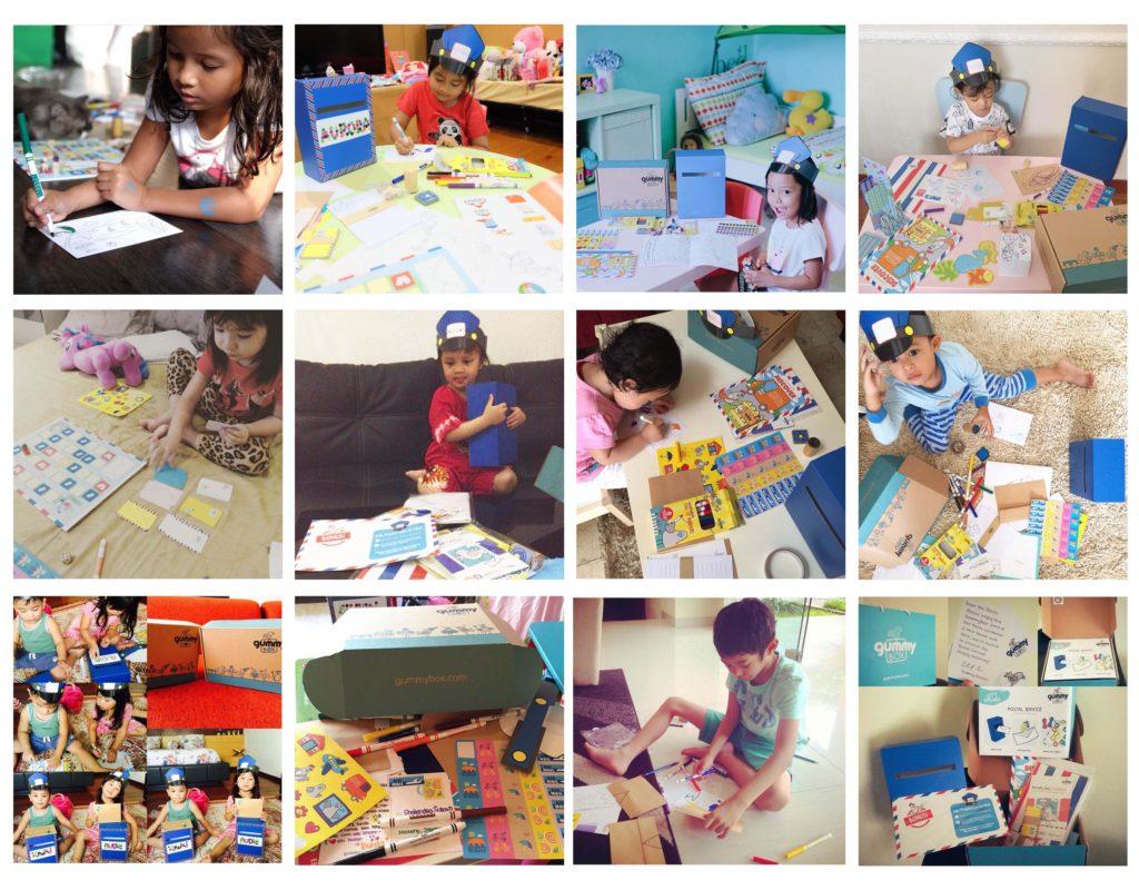 kids playing with gummybox's postal service activity box